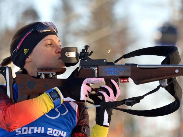 Evi Sachenbacher-Stehle geht im Sprint an den Start