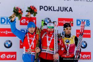 Gewinner Verfolgung Herren Pokljuka 2014 -   Anton Shipulin (RUS), Emil Hegle Svendsen (NOR), Martin Fourcade (FRA)