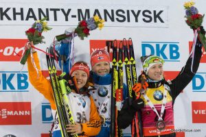 Laura Dahlmeier (GER), Kaisa Maekaeraeinen (FIN), Darya Domracheva (BLR)